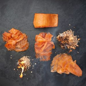 different cuts of smoked salmon