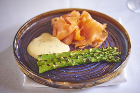 Maldon Cure Smoked Salmon with Chargrilled English Asparagus and Mint Hollandaise