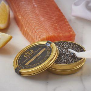 The Royal caviar with salmon and lemon