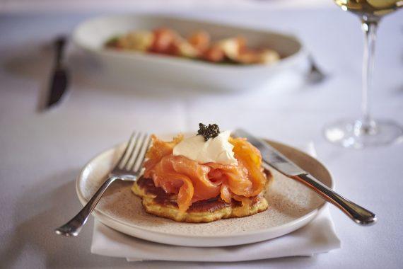 Potato Pancakes with Maldon Cure or Maldon Deep Smoked Salmon,  Exmoor Caviar & Crème Fraîche